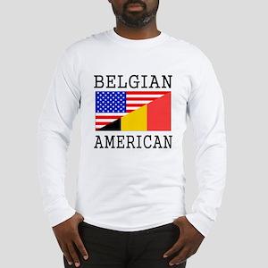 Belgian American Flag Long Sleeve T-Shirt
