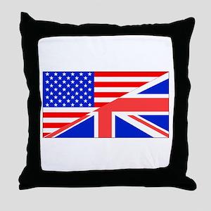 British American Flag Throw Pillow