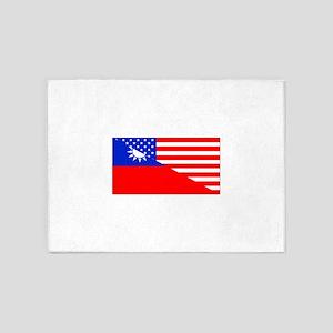 Taiwanese American Flag 5'x7'Area Rug