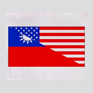 Taiwanese American Flag Throw Blanket