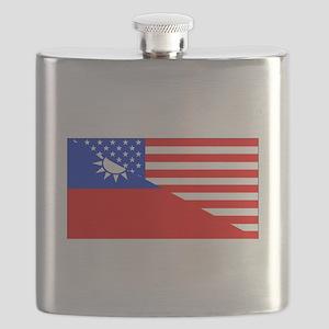 Taiwanese American Flag Flask