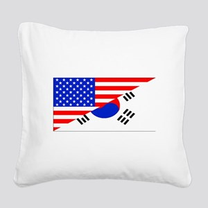 Korean American Flag Square Canvas Pillow