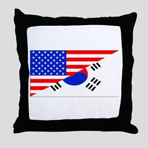 Korean American Flag Throw Pillow