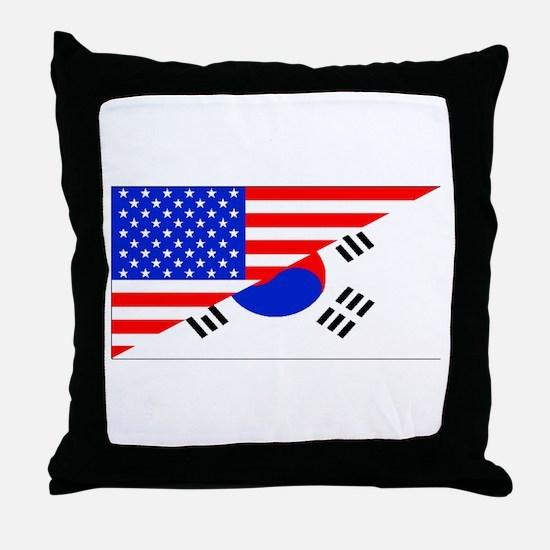 Korean American Flag Throw Pillow