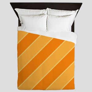 Orange Cream Pop Stripes Queen Duvet