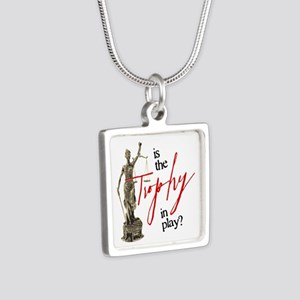 Is the Trophy In Play? Silver Square Necklace