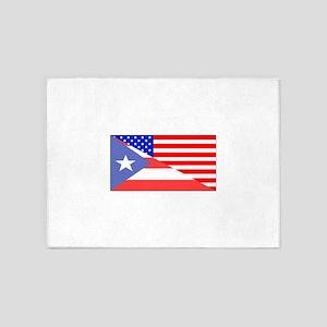 Puerto Rican American Flag 5'x7'Area Rug