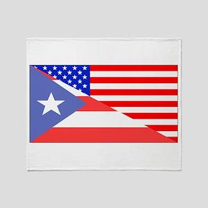 Puerto Rican American Flag Throw Blanket