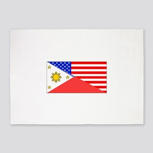 Filipino American Flag 5'x7'Area Rug
