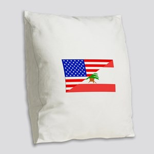 Lebanese American Flag Burlap Throw Pillow