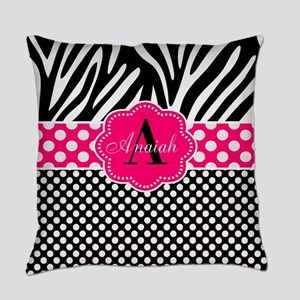 Pink Zebra Dots Personalized Everyday Pillow