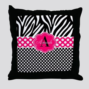 Pink Zebra Dots Personalized Throw Pillow