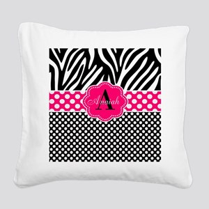 Pink Zebra Dots Personalized Square Canvas Pillow