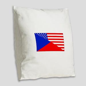 Czech American Flag Burlap Throw Pillow