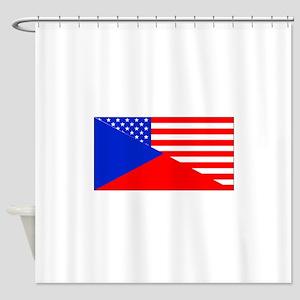 Czech American Flag Shower Curtain