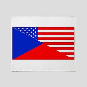 Czech American Flag Throw Blanket