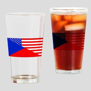 Czech American Flag Drinking Glass
