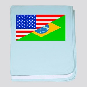Brazilian American Flag baby blanket