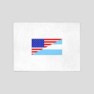 Argentinian American Flag 5'x7'Area Rug