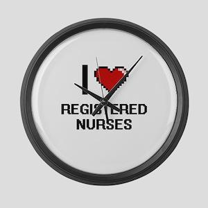 I Love Registered Nurses Digital Large Wall Clock