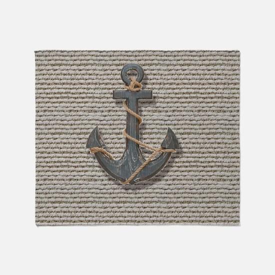 shabby chic anchor burlap Throw Blanket