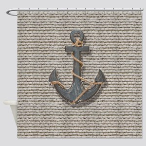 shabby chic anchor burlap Shower Curtain