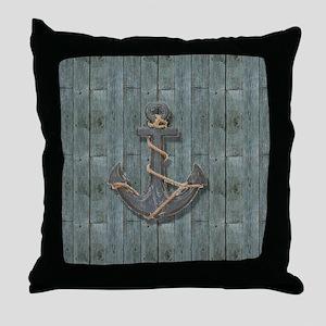 teal drift wood anchor Throw Pillow