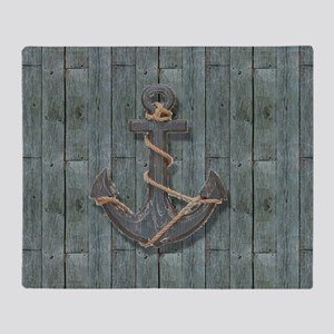 teal drift wood anchor Throw Blanket