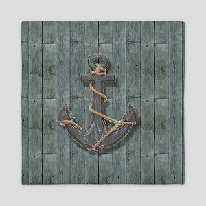 teal drift wood anchor Queen Duvet