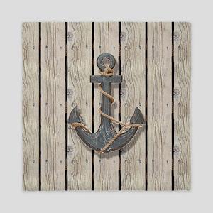 shabby chic wood blue anchor Queen Duvet