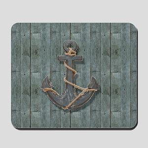 teal drift wood anchor Mousepad