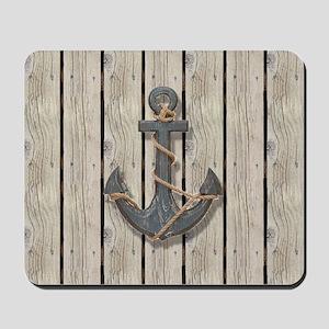 shabby chic wood blue anchor Mousepad