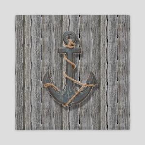 nautical anchor barn wood Queen Duvet