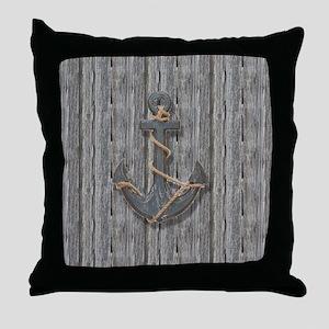 nautical anchor barn wood Throw Pillow