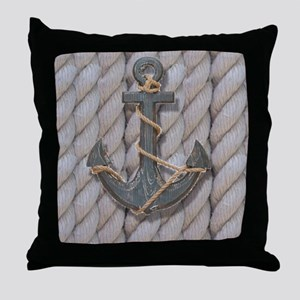 rustic anchor nautical rope Throw Pillow