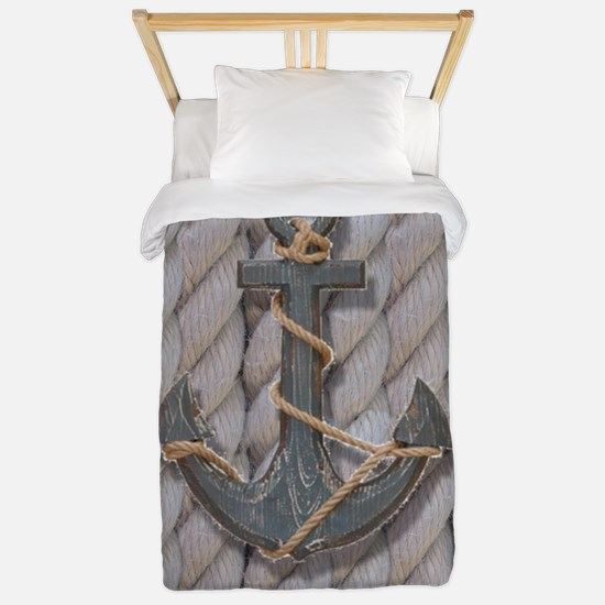 rustic anchor nautical rope Twin Duvet