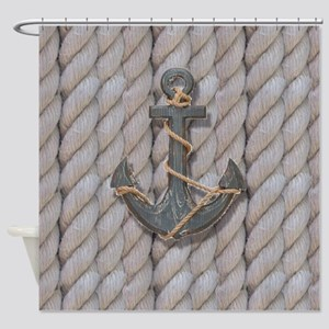 rustic anchor nautical rope Shower Curtain