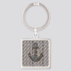 rustic anchor nautical rope Square Keychain