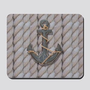 rustic anchor nautical rope Mousepad