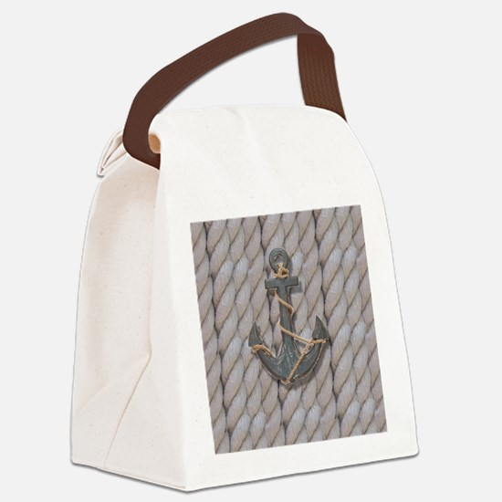 rustic anchor nautical rope Canvas Lunch Bag