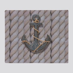 rustic anchor nautical rope Throw Blanket