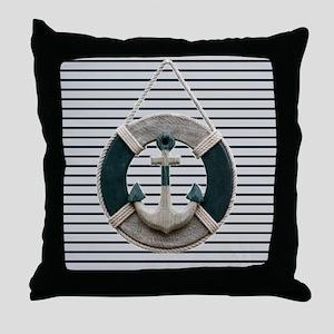 teal grey stripes life saver Throw Pillow