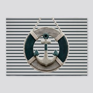teal grey stripes life saver 5'x7'Area Rug