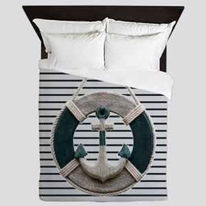 teal grey stripes life saver Queen Duvet