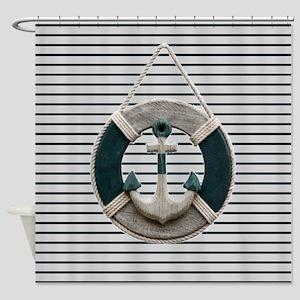 teal grey stripes life saver Shower Curtain
