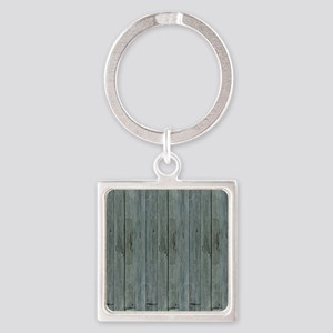 nautical teal beach drift wood  Square Keychain
