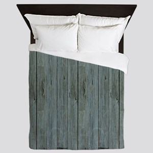 nautical teal beach drift wood  Queen Duvet