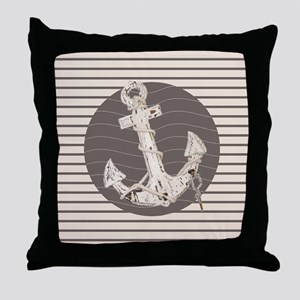 shabby chic anchor nautical stripes Throw Pillow