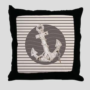 shabby chic anchor nautical stripes Throw Pillow