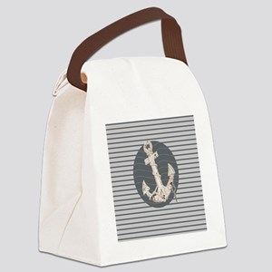 grey nautical stripes anchor Canvas Lunch Bag